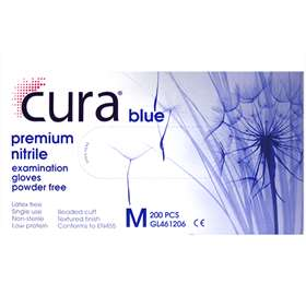 Cura Blue Nitrile Powder Free Medical Examination Gloves 200 Medium