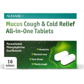 Numark Mucus Cough & Cold Relief All-in-One Tablets 16