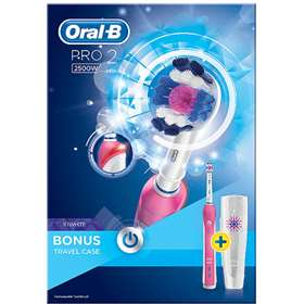 Oral-B Pro 2 3D White Toothbrush Pink Case