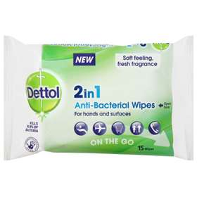 Dettol 2 in 1 On-The-Go Anti-Bacterial Wipes 15