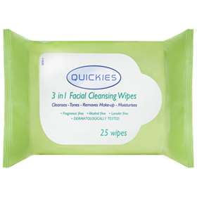 Quickies 3 in 1 Facial Cleansing Wipes 25