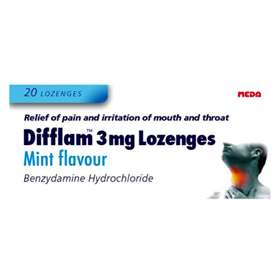 Difflam 3mg Lozenges Mint Flavour 20
