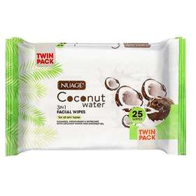 Nuage Coconut Water 3 in 1 Facial Wipes Twin Pack