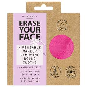 Erase Your Face Reusable Circular Makeup Removing Cloth 4 Set - Bright