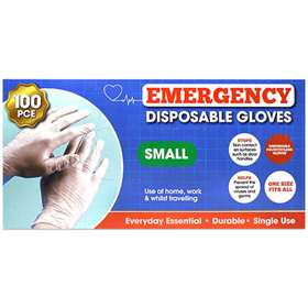Emergency Disposable Gloves 100 Small