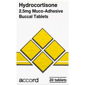 Hydrocortisone 2.5mg Muco-Adhesive Buccal 20 Tablets