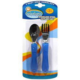 Griptight Stainless Steel Cutlery Set 12 months plus Blue